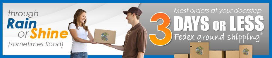 Most orders at your doorstep in 3 days or less via Fedex ground shipping